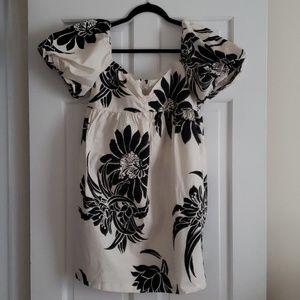 Zara white and black floral mini dress